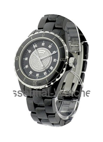 Chanel J12 Black 38mm with Pave Diamond ...