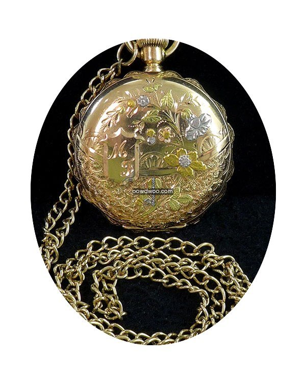 Elgin Pocket Watch Enamel Dial 14k Gold ...