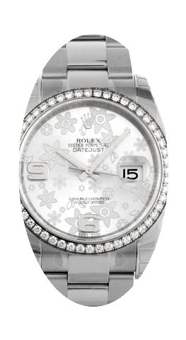 Rolex Datejust silver flowers116244...