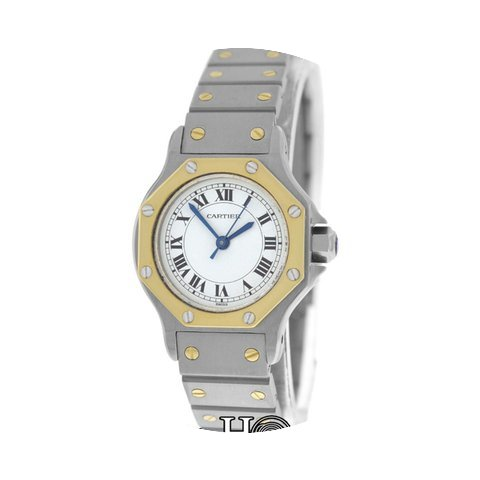 Cartier Mint Ladies Santos Octagon 18K G...