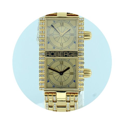 Roberge Pollux Ladies Dual Time 18k Yell...