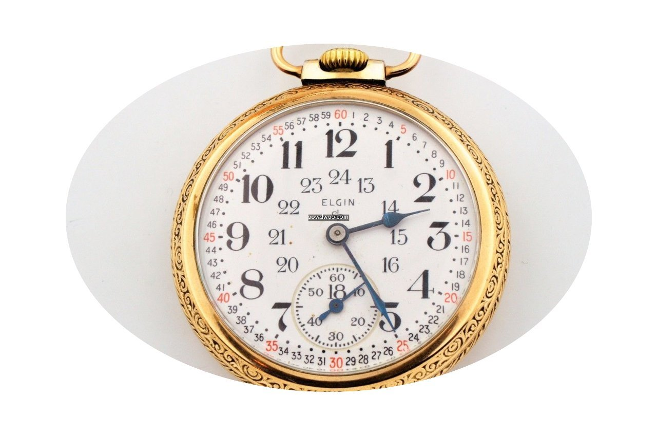 Elgin 24 Hour Dial Gold Filled Train Eng...