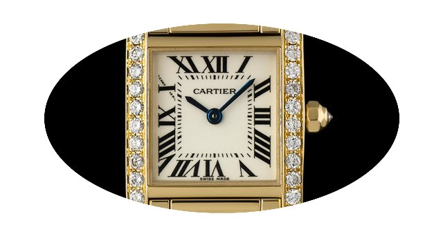 Cartier 18k Yellow Gold Silver Dial Diam...