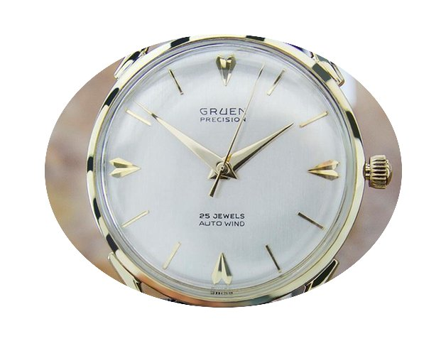Gruen Rare Solid Gold Swiss Made Mens Au...