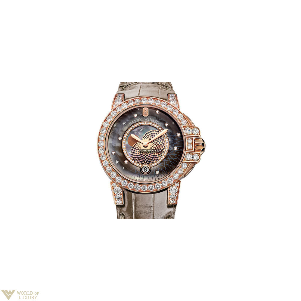Harry Winston Ocean Lady Crocodile Leath...