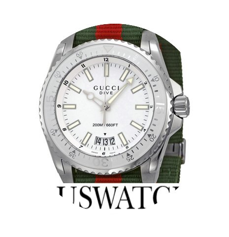 Gucci Dive Silver Dial Red and Green Nyl...